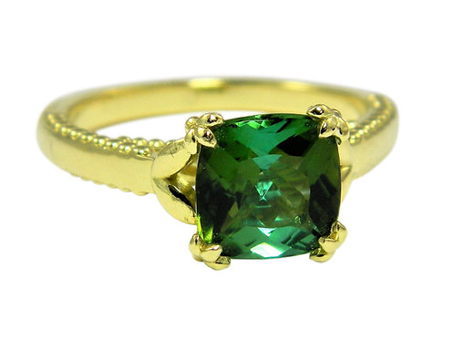 Mint tourmaline floral alternative engagement ring