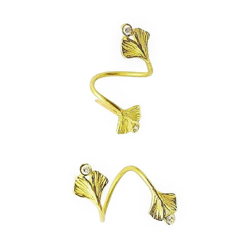 Baby Ginkgo and diamond wrap earring/ear-cuff