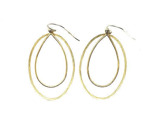 Concentric oval and pear shape dangle earrings