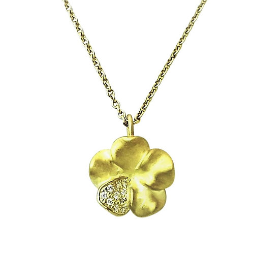 Large Pansy and diamond necklace