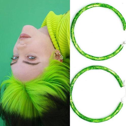 Birthstone glitter enamel sparkle hoops-Billy Eilish Neon Green