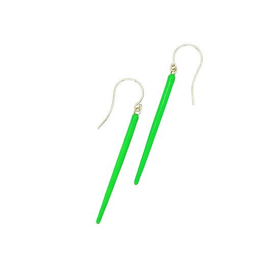 Neon green enamel spike earrings