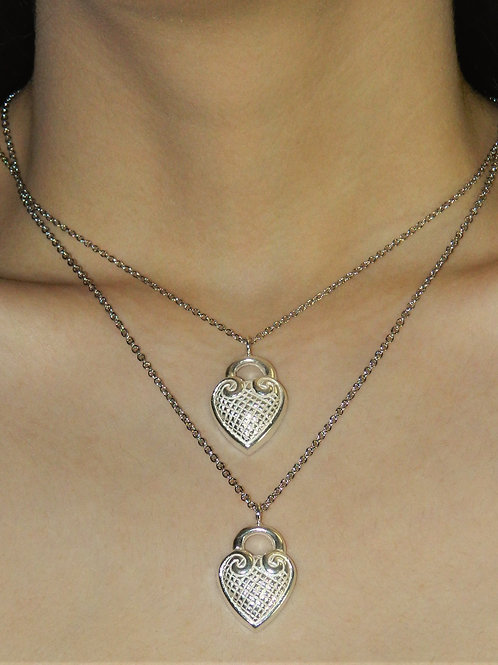 Quilted heart necklace