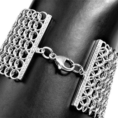 CZ bar chainmail Power bracelet