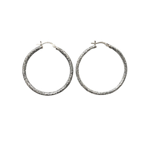 Birthstone glitter sparkle enamel hoop earrings-April-Diamond