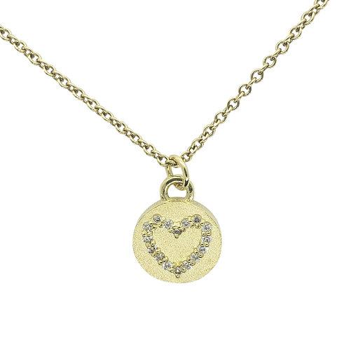 Magic Diamond heart on disc necklace