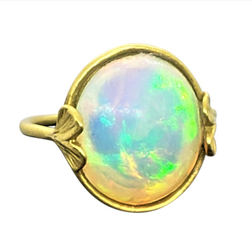 Bold Ethiopian Welo Opal cab with baby Ginkgo details ring