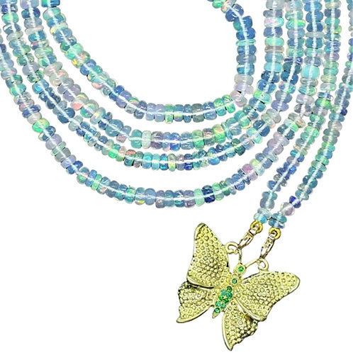Beaded Butterfly with Emeralds and Opals Necklace