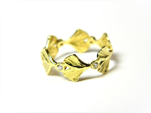 Baby Ginkgo eternity ring with diamonds