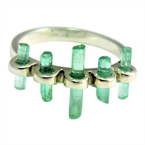 Raw Emerald crystal spike ring