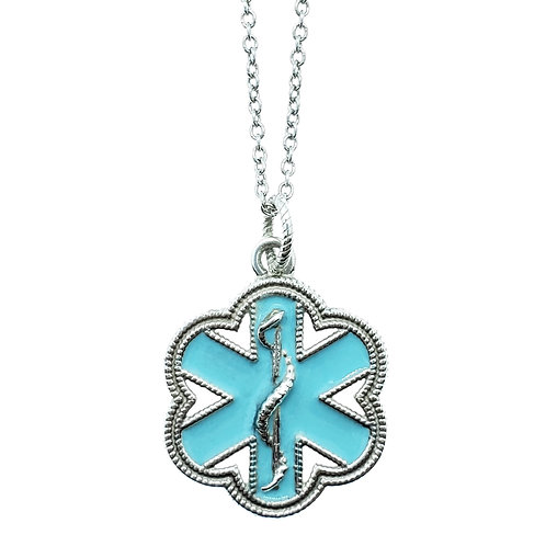 Enamel and Sterling Silver flower Med ID