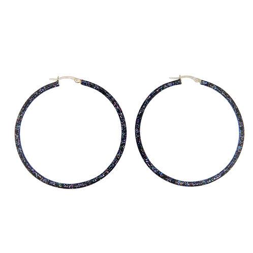 Glitter enamel birthstone silver hoops
