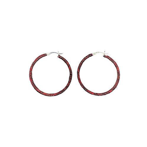 Birthstone glitter enamel sparkle hoop earrings-January-Garnet