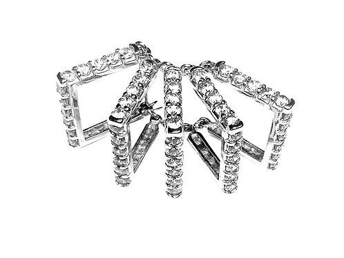 Diamond and platinum cascading fan earring
