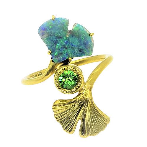 Gemmie Opal and Tsavorite Ginkgo ring