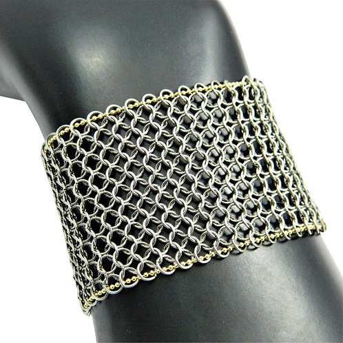 Stainless Steel chainmail Power bracelet with woven 14k gold chain
