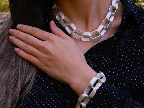Sliced link bracelet in matte Sterling Silver
