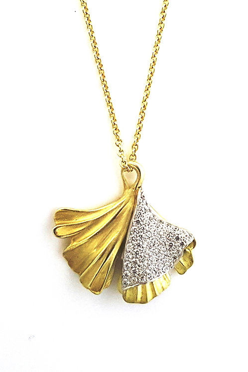 Large Ginkgo with diamonds necklace