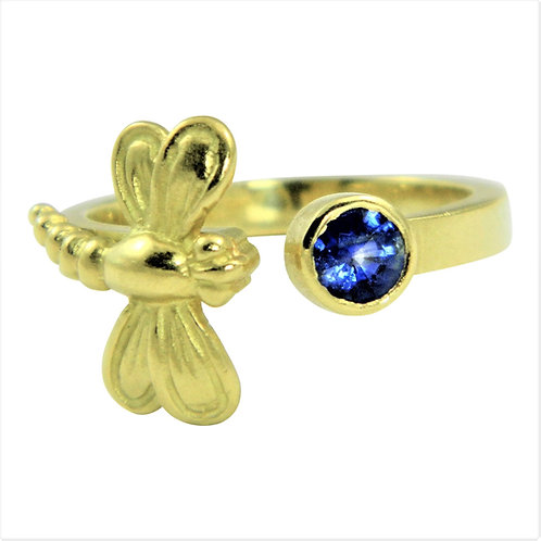 Dragonfly adjustable open ring with Sapphire