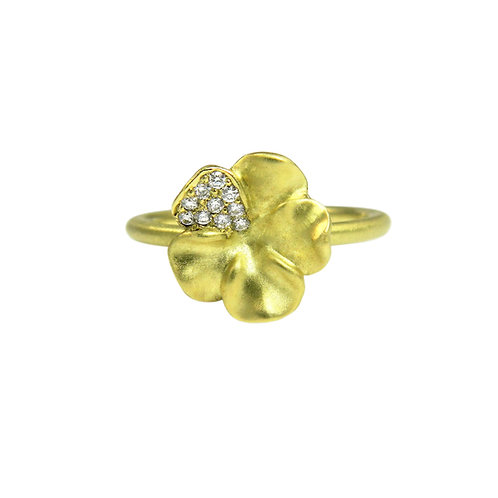 Pansy ring with diamonds