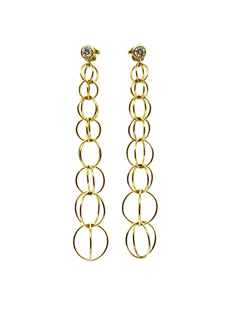 Handmade concentric balls swing earrings with diamonds