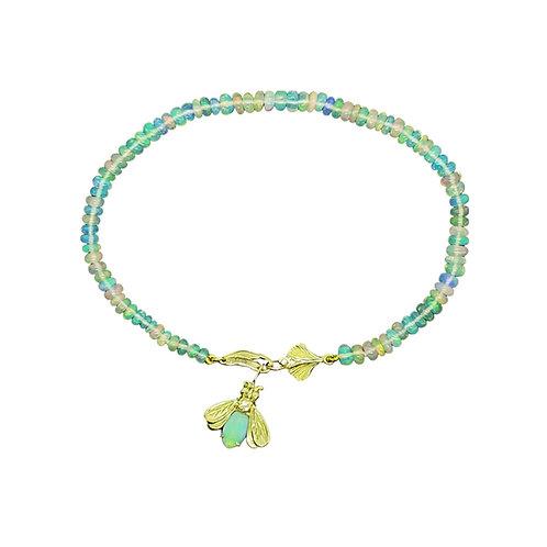 Ethiopian Opal bead bracelet with Australian Opal Firefly and 18K ginkgo