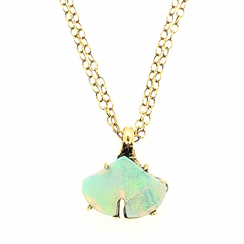 Reversible Opal and Diamond Ginkgo necklace