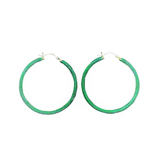 Birthstone glitter enamel hoop earrings-May-Emerald