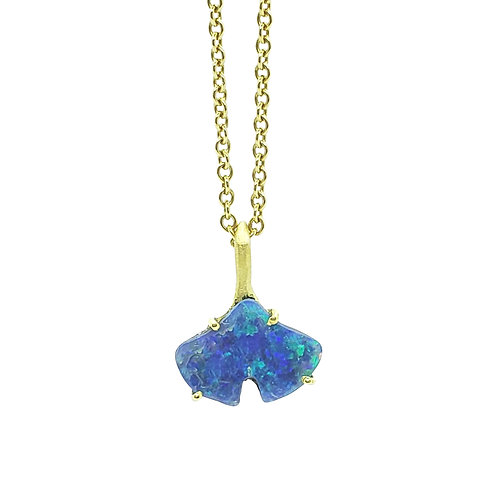 Glowing Opal Ginkgo necklace