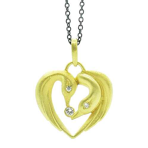 Double swan heart and diamond necklace