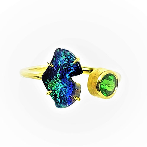Adjustable open Ginkgo ring with Opal and Tsavorite