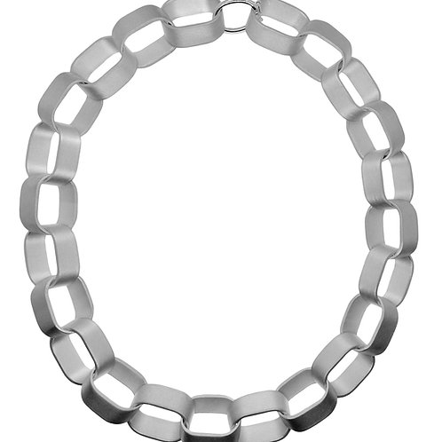 Statement Sliced Link matte silver necklace