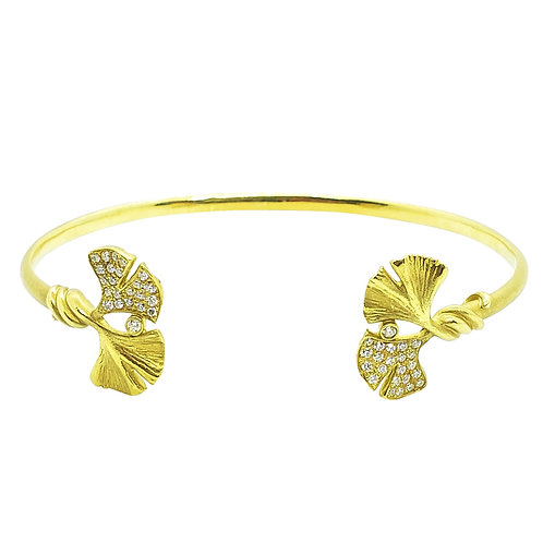 Double ended Ginkgo and diamond Bangle