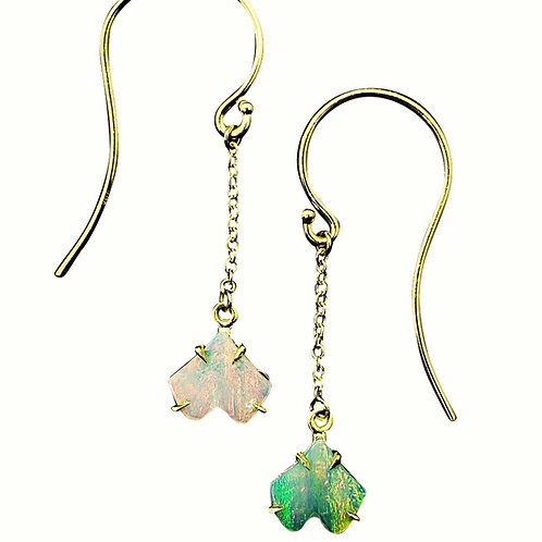 Baby Ginkgo Opal chain dangle earrings