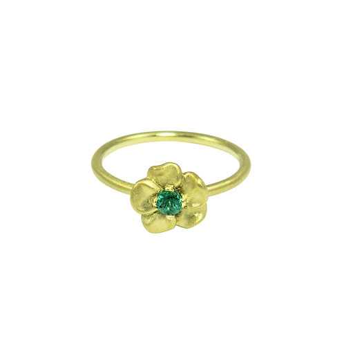 Small Pansy and Emerald ring