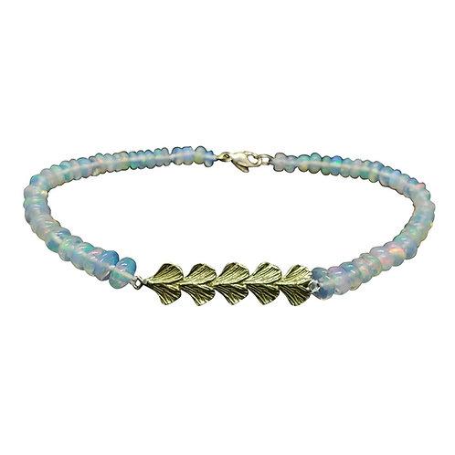 Ethiopian Opal bead bracelet with ginkgo bar