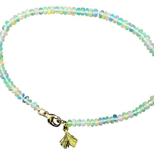 Ethiopian opal bead bracelet with baby Ginkgo