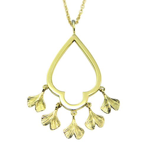 Chandelier necklace with baby Ginkgo dangles