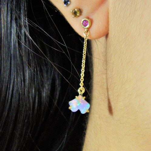 Baby Ginkgo drop post earrings with Opal and Ruby