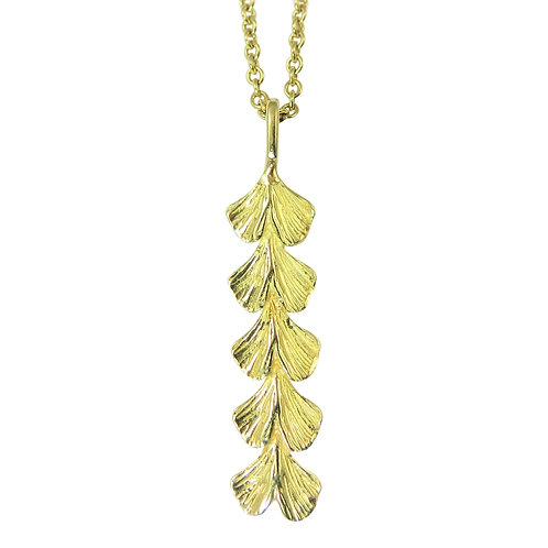 Baby Ginkgo vertical bar necklace