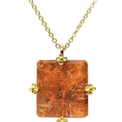 Bold Red Rutiltaed Quartz necklace
