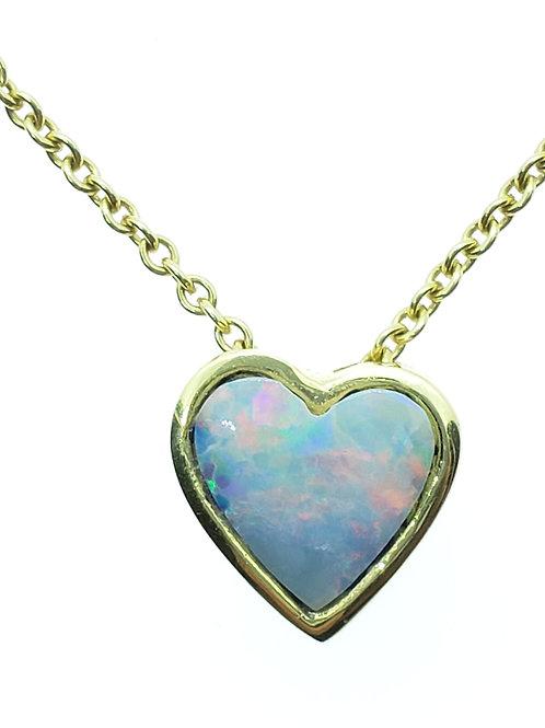 Australian opal heart slide necklace