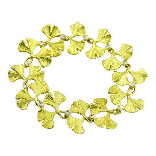 Ginkgo and Diamond statement link bracelet