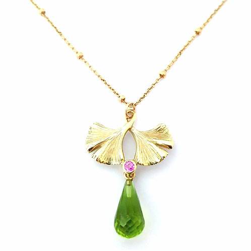 Ginkgo necklace with pink Sapphire and Peridot briollette