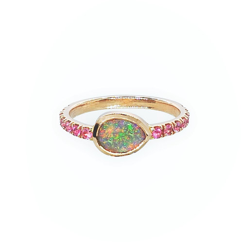 Pink gold,Opal and pink Sapphire ring