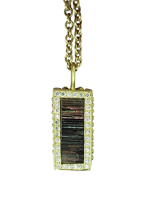 Rainbow Sunstone and diamond necklace