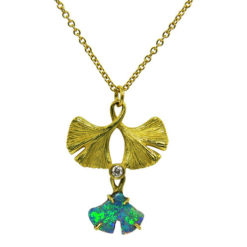 Triple Ginkgo necklace with Opal and diamond
