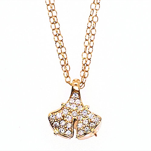 Pink gold reversible Ginkgo Necklace with diamond and Opal