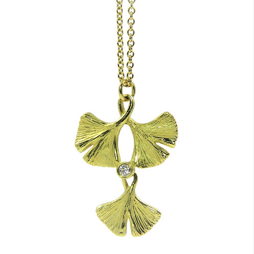 Tiered Ginkgo necklace with diamond