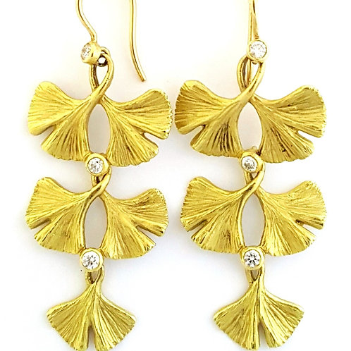 Triple tiered statement Ginkgo earrings with diamonds